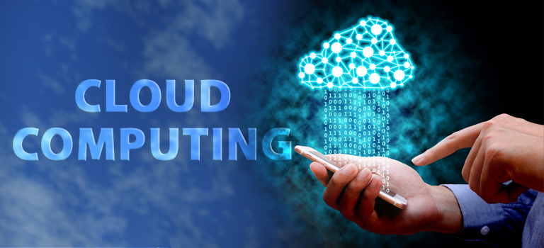 A cloud is raining information onto a hand holding a cell phone as a metaphor for Cloud Computing