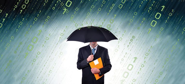 A man in a suite stands with an umbrella as binary code rains down. The photo is a metaphor for Cybersecurity Insurance.