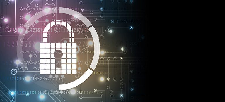 A pixel lock inside a circle floats behind a cyber colored background that represents small business protection
