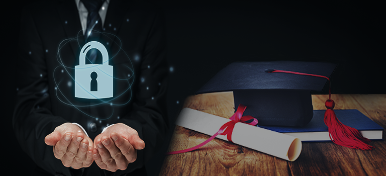 Cybersecurity Education cap and degree