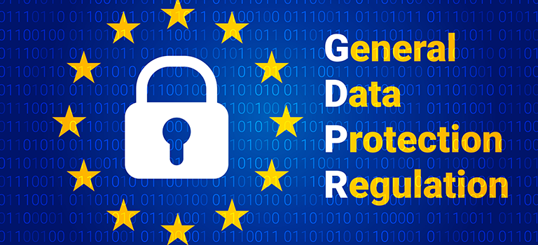 GDPR Lock with yellow stars surrounding it set to a blue binary background with the words General Data Protection Regulation featured