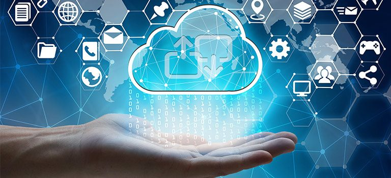 hand holding cloud connected to apps, raining information, cybersecurity services
