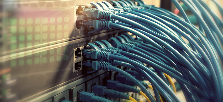 Cords plugging into a system firewall