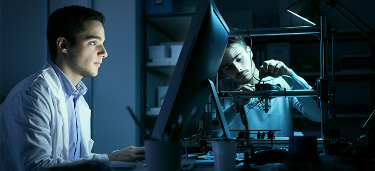 Dark Lit Two Men Cybersecurity Career Engineer Lab