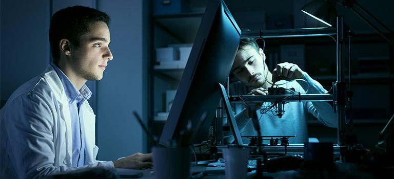 Dark Lit Two Men Cybersecurity Career Engineer Lab