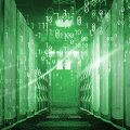 National Cyber Security Awareness Month, binary code particles and neon glowing cyber wave. in modern server room