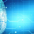 Fingerprint on blue background, digitally connected, computer forensic analysis tools