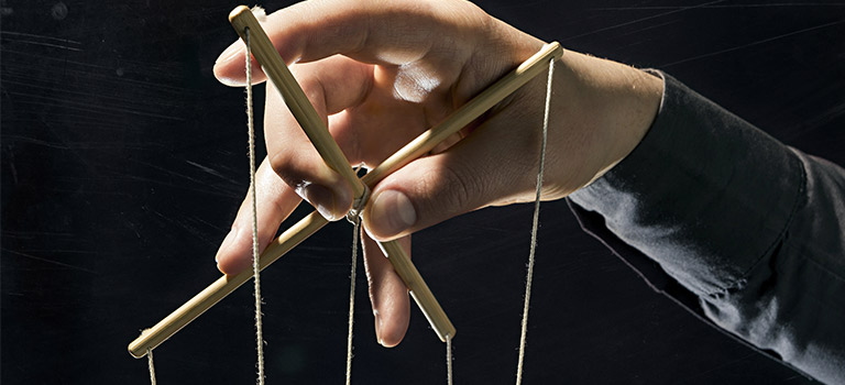 Hands controlling Marionette strings, abstract for internet trolls, pulling the strings