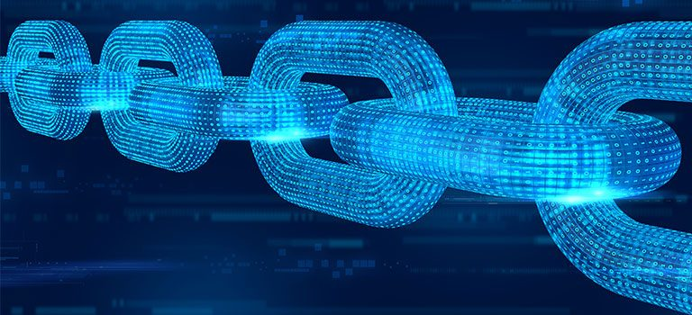 Blockchain abstract, blue chain links