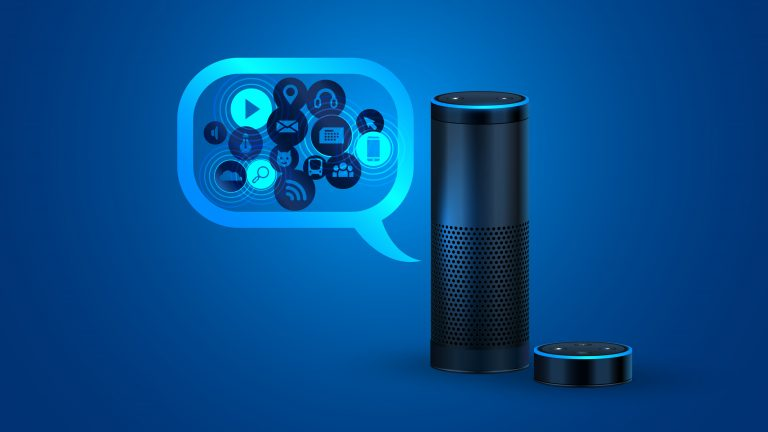 Iot Device Alexa against a blue background, speech bubble with gears.