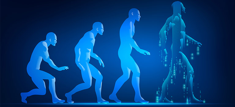 Cybersecurity History, evolved, evolution of man, blue men, computer, cyber