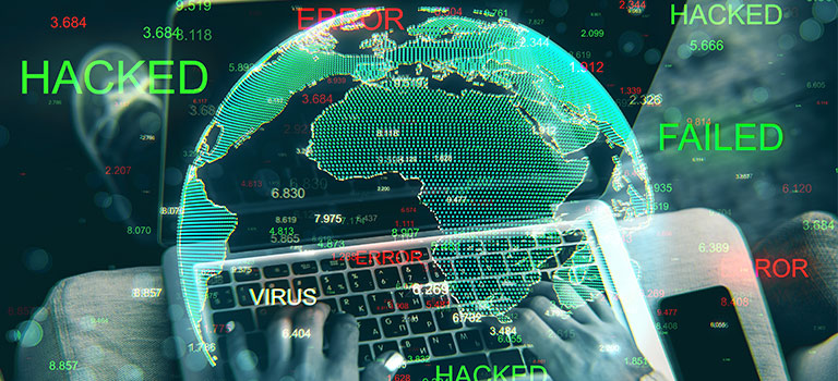 Cyber Threats, Close Up Of Hands Using Hacked Device On Blurry Background With Globe. Attack And Computing Concept.