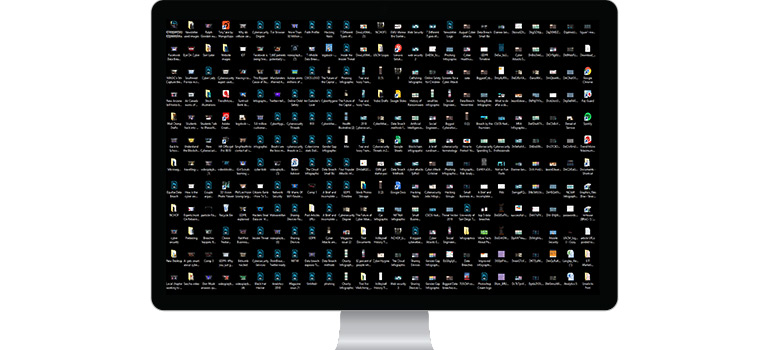 Clean Your Computer, Messy Desktop, Too Many Icons, Computer with messy home screen