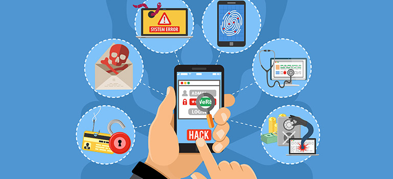 Mobile Security, phone getting hacked, web, hands on phone, malware