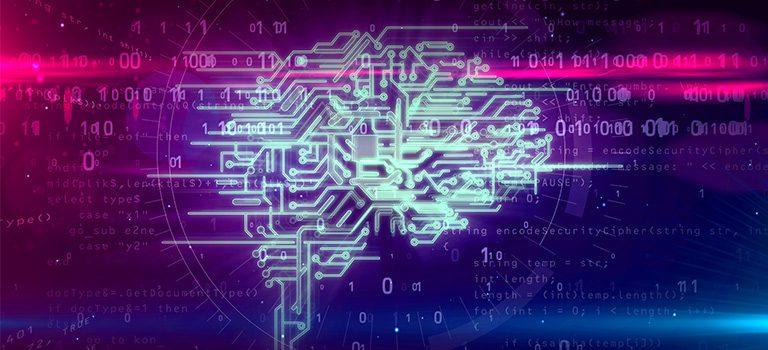 Artificial Intelligence, Machine Learning, Deep Learning, Data Mining, Brain in Binary, vaporwave color scheme
