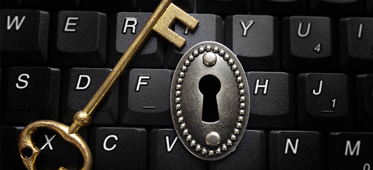 lock and key on a keyboard