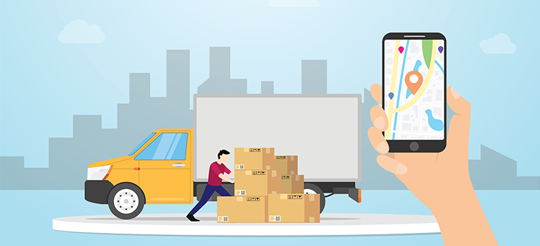 location tracking connecting a phone and a truck for delivery