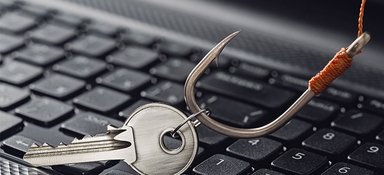 SANS Phishing, fish hook grabbing key on keyboard